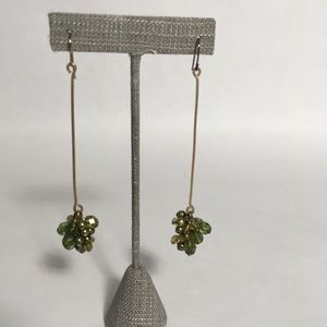 Jewelry - Green beaded brass earrings